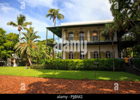 Key West, Florida, USA - September 1, 2018: Ernest Hemingway's House in Key West, Florida. For editorial use. - Stock Photo