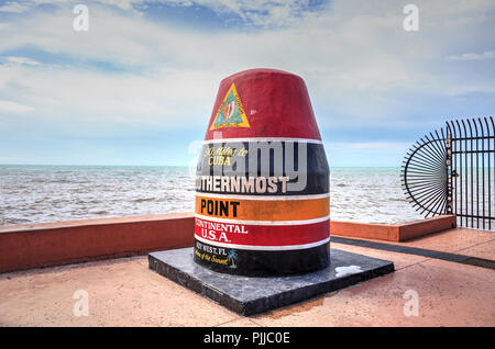 Key West, Florida, USA - September 1, 2018: Southernmost Point monument in Key West, Florida. For editorial use. - Stock Photo