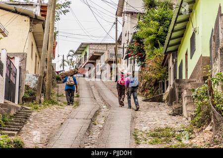 A typical view in Copan Town in Honduras - Stock Photo