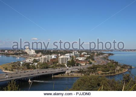 Aerial view on the Swan river surrounding South Perth from Kings Park hill - Stock Photo