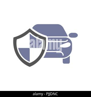 Car guard shield sign, collision insurance shop logo emblem protection, driver flat security system badge. Theft modern design label illustration. - Stock Photo