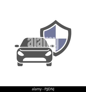 Protect car guard shield. Safety badge vehicle icon. Privacy automobile banner shield. Security auto label. Defense motor car. Defense safeguard shield motor vehicle. Car alarm system. - Stock Photo