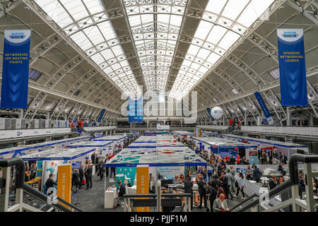 London, UK. 6th September 2018. The Aviation Festival in London is one of the largest travel technology exhibitions in the world Credit: Nick Whittle/Alamy Live News - Stock Photo