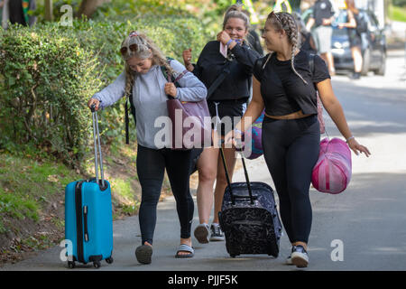 Portmeirion, North Wales 7th September 2018: Festival No. 6 is multi-award-winning music, arts and culture festival that all takes place in the beautiful fairy tale setting of Portmeirion, North Wales, home of the cult TV show The Prisoner. Festival goers arriving for Festival Number 6 at Portmeirion, North Wales - Stock Photo
