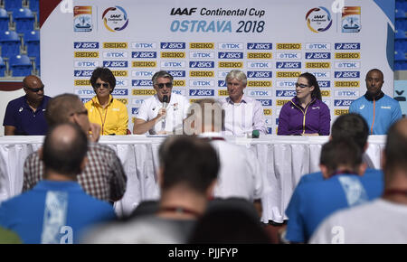 Ostrava, Czech Republic. 07th Sep, 2018. From left captains of IAAF Continental Cup Ostrava 2018, Mike Powell (America), Nezha Biduane (Africa), President IAAF Sebastian Coe, Libor Varhanik, President Czech Athletic Association, Jana Pittman (Asia-Oceania) and Colin Jackson (Europe) speak during the press conference in Ostrava, Czech Republic, on September 7, 2018. Credit: Jaroslav Ozana/CTK Photo/Alamy Live News - Stock Photo
