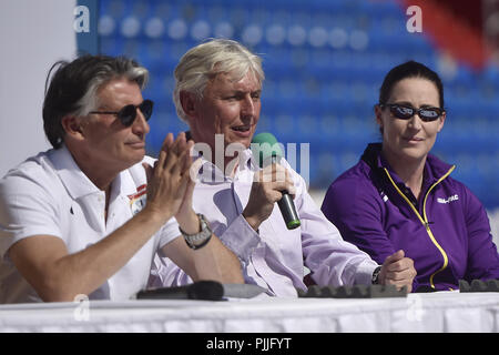 Ostrava, Czech Republic. 07th Sep, 2018. From left President IAAF Sebastian Coe, Libor Varhanik, President Czech Athletic Association, captains of IAAF Continental Cup Ostrava 2018 Jana Pittman (Asia-Oceania) speak during the press conference in Ostrava, Czech Republic, on September 7, 2018. Credit: Jaroslav Ozana/CTK Photo/Alamy Live News - Stock Photo