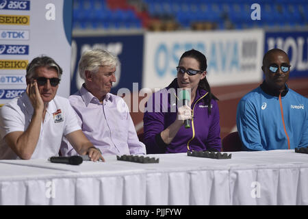 Ostrava, Czech Republic. 07th Sep, 2018. From left President IAAF Sebastian Coe, Libor Varhanik, President Czech Athletic Association, captains of IAAF Continental Cup Ostrava 2018 Jana Pittman (Asia-Oceania) and Colin Jackson (Europe) speak during the press conference in Ostrava, Czech Republic, on September 7, 2018. Credit: Jaroslav Ozana/CTK Photo/Alamy Live News - Stock Photo
