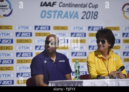 Ostrava, Czech Republic. 07th Sep, 2018. From left captains of IAAF Continental Cup Ostrava 2018, Mike Powell (America), Nezha Biduane (Africa) speak during the press conference in Ostrava, Czech Republic, on September 7, 2018. Credit: Jaroslav Ozana/CTK Photo/Alamy Live News - Stock Photo