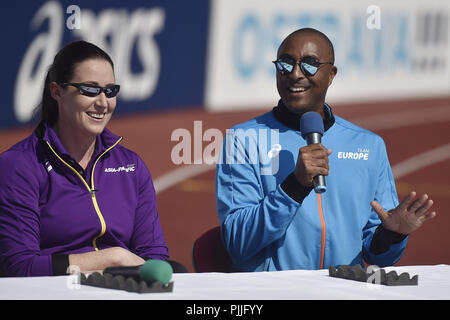 Ostrava, Czech Republic. 07th Sep, 2018. From left captains of IAAF Continental Cup Ostrava 2018, Jana Pittman (Asia-Oceania) and Colin Jackson (Europe) speak during the press conference in Ostrava, Czech Republic, on September 7, 2018. Credit: Jaroslav Ozana/CTK Photo/Alamy Live News - Stock Photo