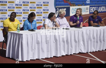 Ostrava, Czech Republic. 07th Sep, 2018. From left captains of IAAF Continental Cup Ostrava 2018, Julius Yego (Africa), Katerina Stefandi (Europe), President IAAF Sebastian Coe, Libor Varhanik, President Czech Athletic Association, Jana Pittman (Asia-Oceania) and Colin Jackson (Europe) speak during the press conference in Ostrava, Czech Republic, on September 7, 2018. Credit: Jaroslav Ozana/CTK Photo/Alamy Live News - Stock Photo
