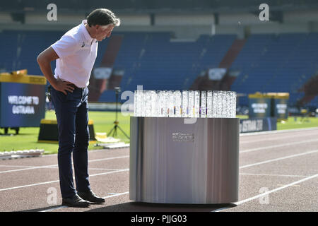 Ostrava, Czech Republic. 07th Sep, 2018. President IAAF Sebastian Coe looks at the trophy for winner during the press conference on IAAF Continental Cup Ostrava 2018 in Ostrava, Czech Republic, on September 7, 2018. Credit: Jaroslav Ozana/CTK Photo/Alamy Live News - Stock Photo