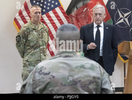 Secretary of Defense James N. Mattis and Marine Corps Gen. Joe Dunford, chairman of the Joint Chiefs of Staff, meet with Afghan President Ashraf Ghani at the Afghan Presidential Office building, Kabul, Afghanistan, Sept. 7, 2018. 6th Sep, 2018. (DoD Photo by Navy Petty Officer 1st Class Dominique A. Pineiro) US Joint Staff via globallookpress.com Credit: Us Joint Staff/Russian Look/ZUMA Wire/Alamy Live News - Stock Photo