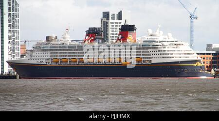 Liverpool, United Kingdom. 7th September 2018. The Disney Magic cruise ship leaves port of Liverpool, North west England on September 7th, 2018. (c) copyright Credit: Ian Fairbrother/Alamy Live News - Stock Photo