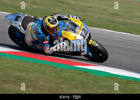 Misano, Italy. 7th September 2018. THOMAS LUTHI from Switzerland, CarXpert Interwetten Team, Kalex, Gran Premio Octo di San Marino e della Riviera di Rimini, during the Friday FP1 at the Marco Simoncelli World Circuit for the 13th round of MotoGP World Championship, from September 7th to 9th, 2018. 7th Sep, 2018. Credit: AFP7/ZUMA Wire/Alamy Live News - Stock Photo