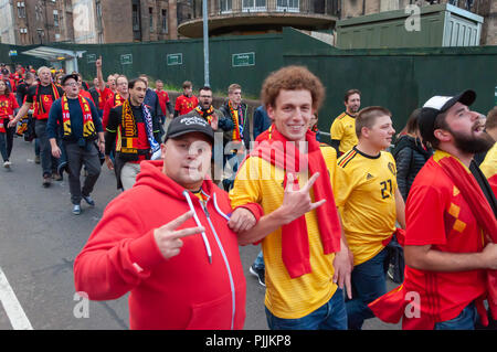 Glasgow, Scotland, UK. 7th September, 2018. Belgium fans make their way to Hampden Park for the international football friendly against Scotland. Credit: Skully/Alamy Live News - Stock Photo