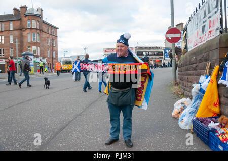 Glasgow, Scotland, UK. 7th September, 2018. Merchandise seller at the Scotland v Belgium international football friendly at Hampden Park. Credit: Skully/Alamy Live News - Stock Photo