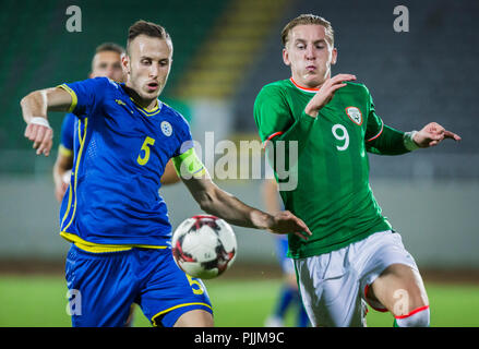 Mitrovica, Kosovo. 7th September 2018. 7th September, Olympic Stadium Adem Jashari, Mitrovice, Kosovo; UEFA Under 21 European Championship qualifier, Kosovo U21 versus Republic of Ireland U21; Credit: Nikola Krstic/Alamy Live News - Stock Photo