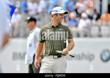 Newtown Square, Pennsylvania, USA: Friday September 7, 2018: Paul Casey smiles on the 16th green during the second round of the BMW Championship at Aronimink Golf Course in Newtown Square, Pennsylvania. Gregory Vasil/CSM Credit: Cal Sport Media/Alamy Live News - Stock Photo