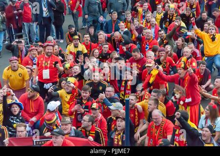 Glasgow, Scotland, UK. 7th September, 2018. Belgium fans make their way to Hampden Park for the international football friendly against Scotland. Credit: Skully/Alamy Live News - Stock Photo
