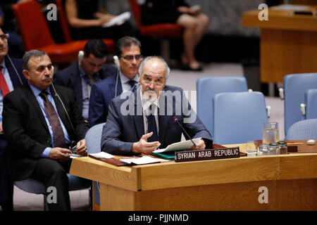 New York, USA. 7th September 2018.  Syrian Ambassador to the United Nations Bashar Ja'afari (front) speaks at a Security Council meeting on the situation in Idlib at the UN headquarters in New York, Sept. 7, 2018. The UN special envoy for Syria said Friday that the situation there had all the 'ingredients' for a 'perfect storm' with devastating humanitarian consequences, urging all stakeholders to find a solution to avert a tragedy. Credit: Li Muzi/Xinhua/Alamy Live News - Stock Photo