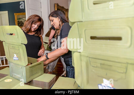 Second Lady Mrs. Karen Pence and Nirali Patel pack Comfort Kits on Thursday, September 6, 2018, at the Vice President's Residence in Washington, D.C. The Comfort Kits, containing journals, markers, a teddy bear, and note from Mrs. Pence, are created by the Comfort Crew, a support organization for military children and their families.  People:  Second Lady Mrs. Karen Pence and Nirali Patel - Stock Photo