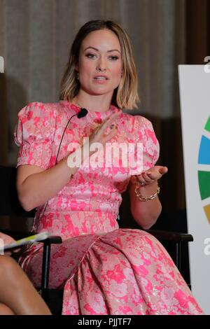 New York, USA. 7th September 2018.  Actress Olivia Wilde joins a discussion about how the Sustainable Development Goals have been integrated into the content of Thomas & Friends children's television series. Thomas & Friends have teamed up with the United Nations to teach families about the Sustainable Development Goals today at the UN Headquarters in New York City. Photos: Luiz Rampelotto/EuropaNewswire | usage worldwide Credit: dpa picture alliance/Alamy Live News - Stock Photo