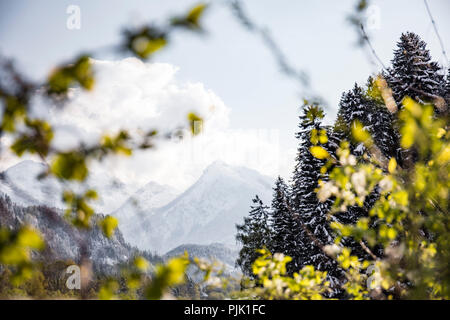 The transition between winter and spring at Lech river in Allgäu region - Stock Photo