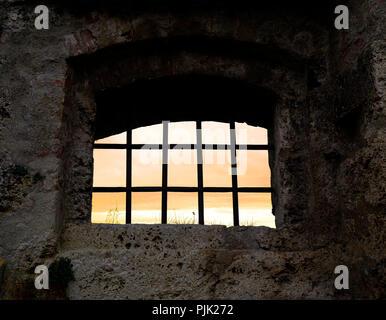 Germany, Bavaria, Upper Bavaria, Burghausen, castle, latticed window at the castle wall - Stock Photo