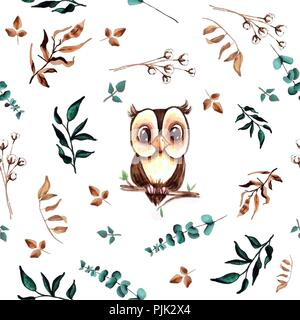 Watercolor cute hand drawn seamless pattern. Wild forest animals and leaves. Cute owl on a branch. - Stock Photo