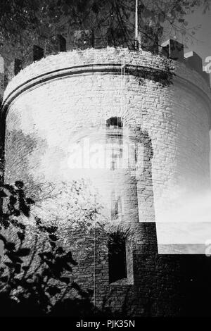 The landmark of Bielefeld, the Sparrenburg, photographed with the help of multiple exposure, - Stock Photo
