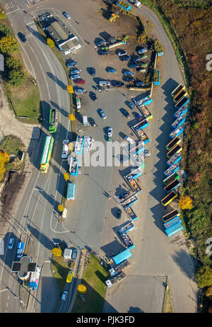 Aerial view, recycling yard Hamm at the Lausbach, landfill, recycling center, waste separation, recycling, colorful containers, Hamm, Ruhr area, North Rhine-Westphalia, Germany - Stock Photo