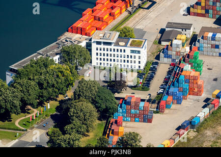 Port Authority Duisport, Duisport, largest inland port in Europe, Duisburg Port Company, Rhine, Duisburg, Ruhr Area, North Rhine-Westphalia, Germany - Stock Photo