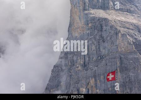 View from Kleiner Scheidegg to the Eiger North Face, Eiger, near Grindelwald, Bernese Oberland, Canton Bern, Switzerland - Stock Photo