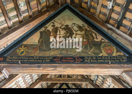 Ceiling painting dance of the dead in the Spreuer bridge over the Reuss, Lucerne, Lake Lucerne, canton Lucerne, Switzerland - Stock Photo