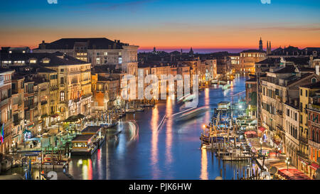 Night skyline of Venice with the Grand Canal, Italy - Stock Photo