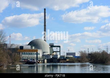 Philippsburg, Nuclear power plant Philippsburg, oxbow lake Philippsburger Altrhein in Germany, Baden-Württemberg, Kraichgau-Stromberg - Stock Photo