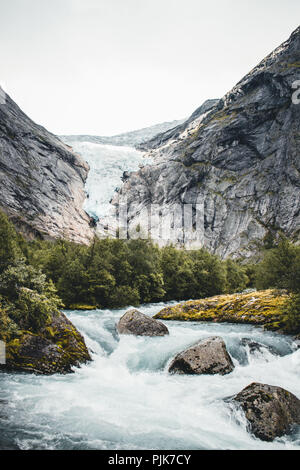 Norway, Stryn, Jostedalsbreen Glacier, Briksdalsbreen - Stock Photo