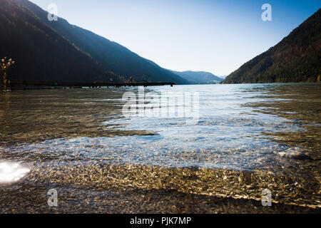 Autumn mood at Lake Weissensee, Carinthia, Austria - Stock Photo