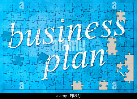 An image of a business plan puzzle - Stock Photo