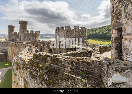 Conwy Castle in Wales, Uk - Stock Photo