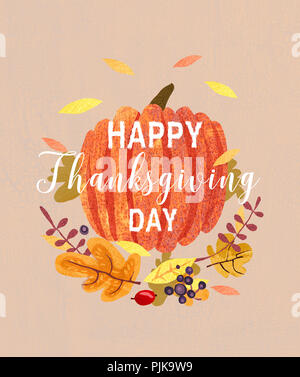 Happy Thanksgiving card design .Composition of plants, leaves and pumpkin. Autumn greeting card. - Stock Photo