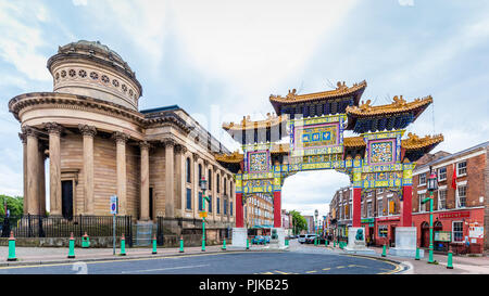 Entrance gate Chinatown in Liverpool, UK - Stock Photo