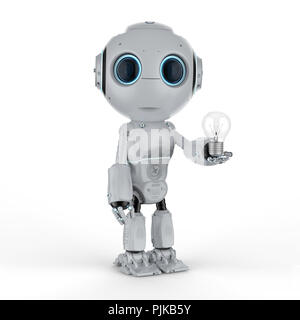 3d rendering cute artificial intelligence robot with lightbulb - Stock Photo
