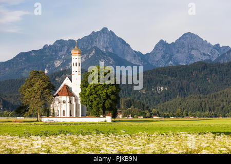 Panoramic view of the St. Coloman Church in Oberbayern, Bavaria, Germany. - Stock Photo