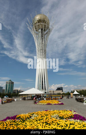 Astana, Kazakhstan, August 2 2018: Bayterek Tower is a monument and observation tower in Astana. The height of building is 105 meters. - Stock Photo