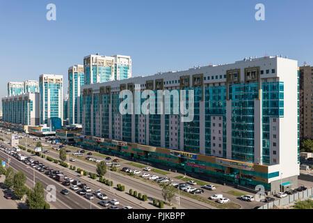 Astana, Kazakhstan, August 2 2018: Modern residential and business buildings on Sarayshik street in the center of Astana, Kazakhstan - Stock Photo