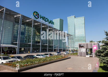 Astana, Kazakhstan, August 3 2018: Modern shopping mall at Nurzhol bulvar in the center of Astana, Kazakhstan - Stock Photo