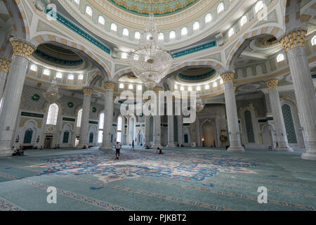 Astana, Kazakhstan, August 3 2018: Interior view of the new Hazrat Sultan Mosque in Astana - Stock Photo
