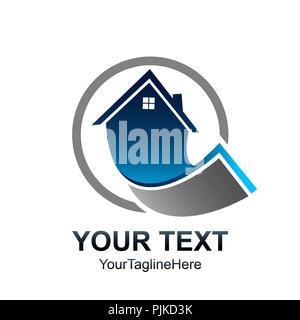 circle Real estate logo template. House logo design vector - Stock Photo
