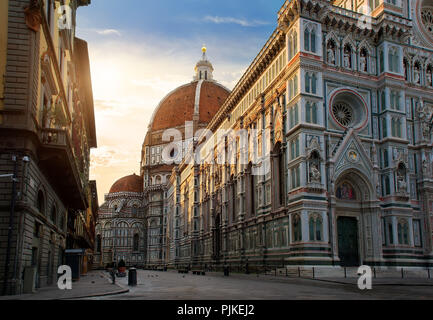 Piazza del Duomo and cathedral of Santa Maria del Fiore in Florence, Italy - Stock Photo